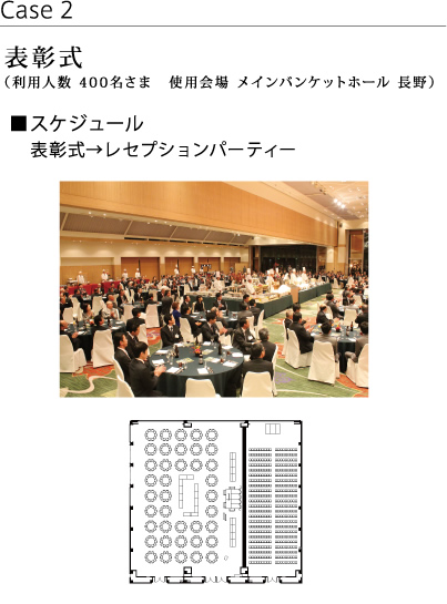 Award ceremony (Capacity for 400 guests at Main Banquet Hall NAGANO)