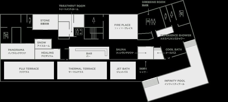 「THERMAL SPA S.WAVE 大磯プリンスホテル」スパフロア